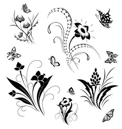 abstract flowers: Set with butterflies and flower patterns Illustration