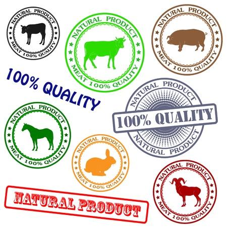 Establecer diversos sello con siluetas de animales, productos naturales