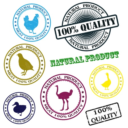 Set various rubber stamp with silhouettes of birds, natural product Vector