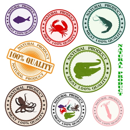 Set various rubber stamp with silhouettes of sea mammals Illustration