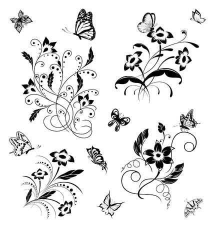 Set with butterflies and flower patterns Illustration