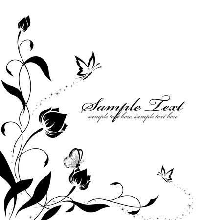 dessin papillon: Le mod�le de fleur avec des papillons, avec une place pour votre texte