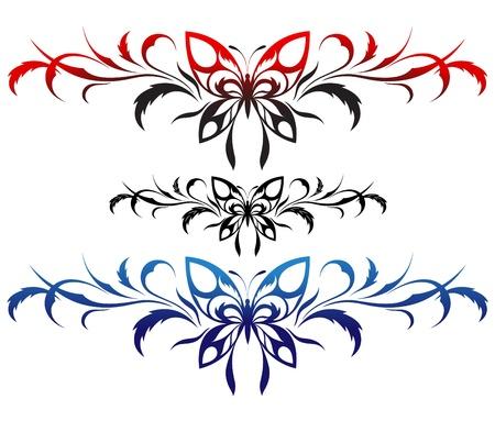 tatuaje mariposa: Tatuaje de mariposas con un patr�n de flores, Vectores