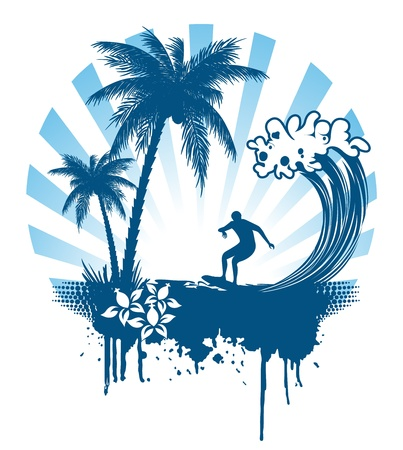 Palm and surfing on waves in grunge style Stock Vector - 11089940