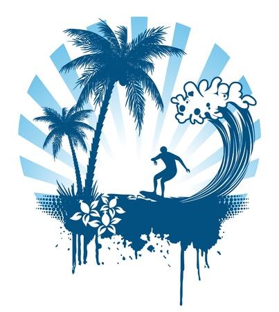 Palma y el surf en las olas en el estilo grunge