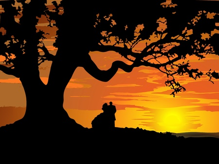 happy young couple: Silhouette of couple in love to tree at sunset