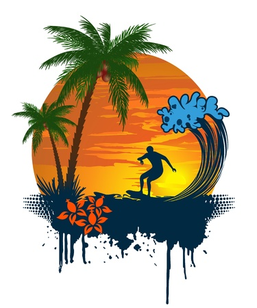 surf silhouettes: Silhouette of palm and surfer on tropical sunset Illustration
