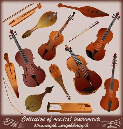 Collection of musical instruments strunnych smychkovych Stock Vector - 12062273