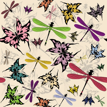 Vector seamless pattern with butterflies and dragonflies Vector
