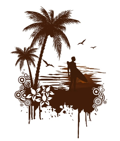 Surf grunge with surfer Stock Vector - 12497252