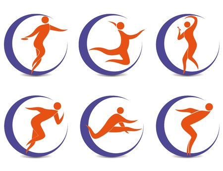 cricket sport: Set of sports symbols with silhouettes of human