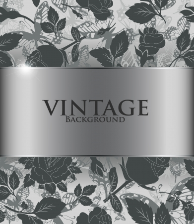 black silk: Vintage background with flowers and butterflies
