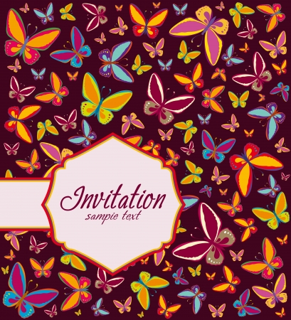 butterfly stationary: Frame with background of butterflies, invitation Illustration