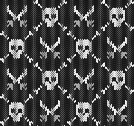 knitted background: seamless knitted background with skulls
