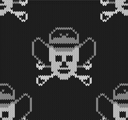 jacquard: Knitted background with skulls  in a cowboys hat