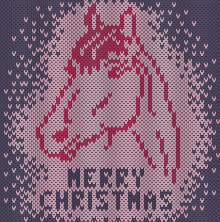 Knitted background with image a horse  Merry Christmas