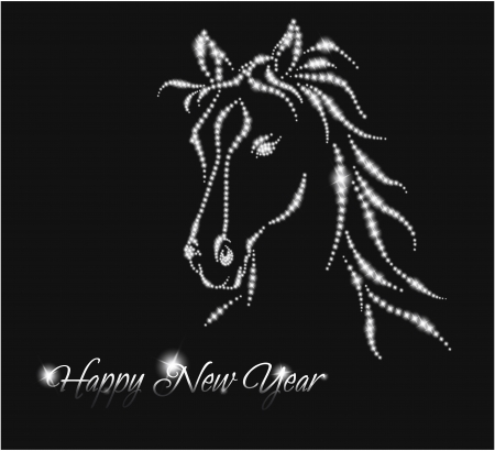 Horse  Happy new year 2014  Vector eps 10 Vector