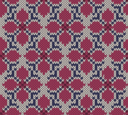 Knitted seamless  background with flower pattern Illustration