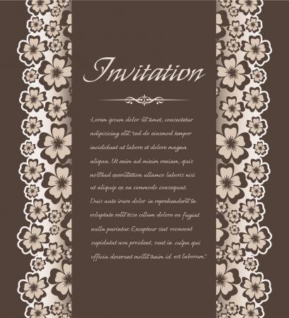 Vintage background with floral pattern for invitations Illustration