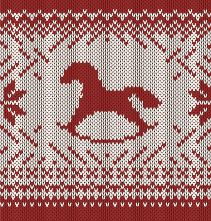 Happy New Year Horse  Knitted seamless background Vector
