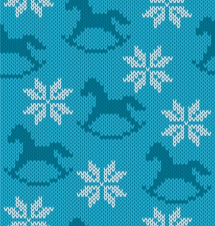 Knitted background with image of snowflakes and horses Illustration