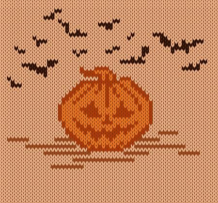 Halloween pumpkin on a knit background