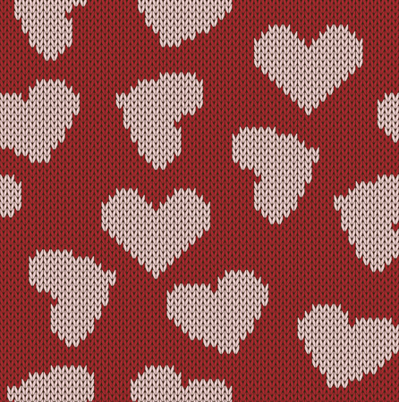 Knitted background with the image of hearts Illustration