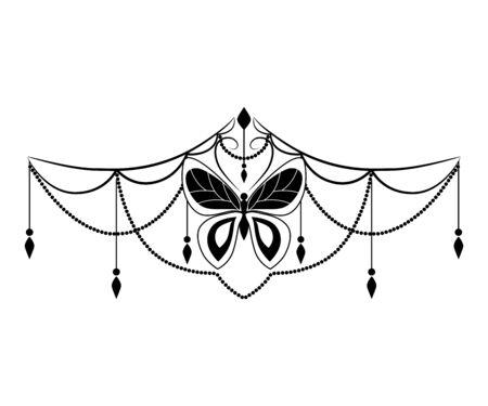 Vector black white background mehendi tattoo with butterfly.Henna painting Ilustração Vetorial