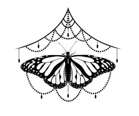 Vector black white background mehendi tattoo with butterfly.Henna painting