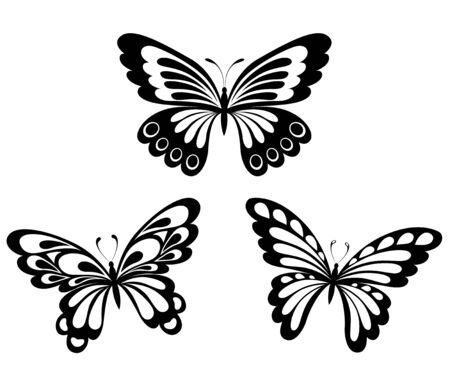 Set of black and white butterflies in the form of a tribal tattoo