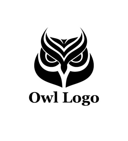 Vector owl  design template in black white color.