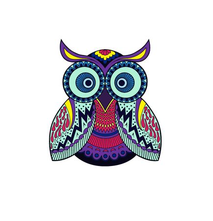Stylized owl with an abstract pattern on a white