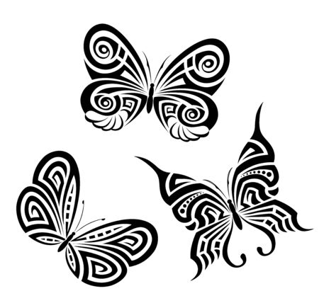 Vector background with the image set of black and white butterflies in the form of a tribal tattoo