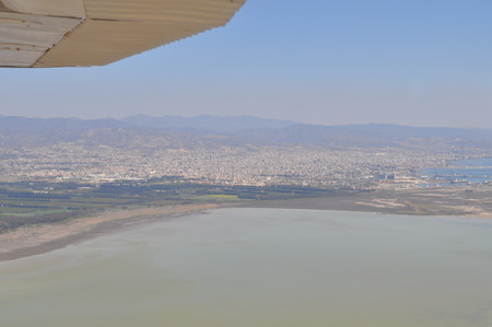 The beautiful natural Wetland Limassol Salt Lake Overview landscape in Cyprus