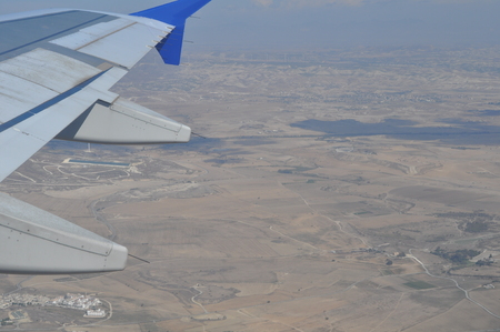 The beautiful view from airplane window, Cyprus 免版税图像