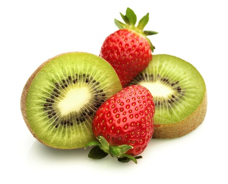 Kiwi Fruit and Strawberries on White