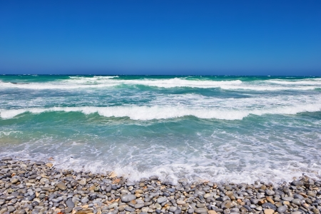 waterscape: Pebble beach with ocean (Cape Province - South Africa) Stock Photo