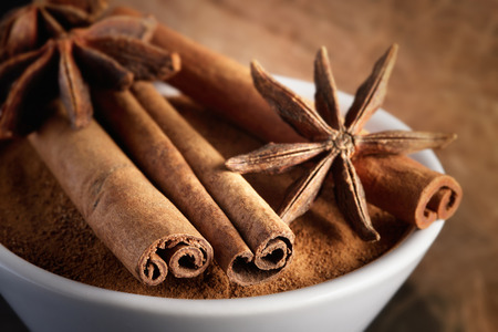 Cinnamon sticks on powder and anise