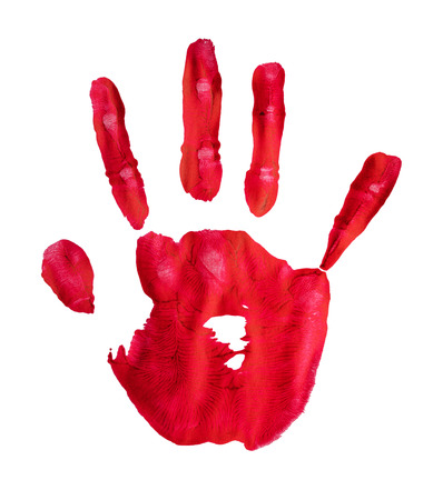 Hand print in red paint with hi resolution detail isolated on white
