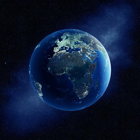 Tierra con luces de la ciudad por la noche en el espacio exterior con África y Europa Foto de archivo