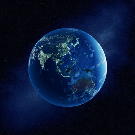 Earth with city lights at night in outer space with Australia and East Asia  (Elements of this  3D rendered image furnished by NASA-   http://visibleearth.nasa.gov)