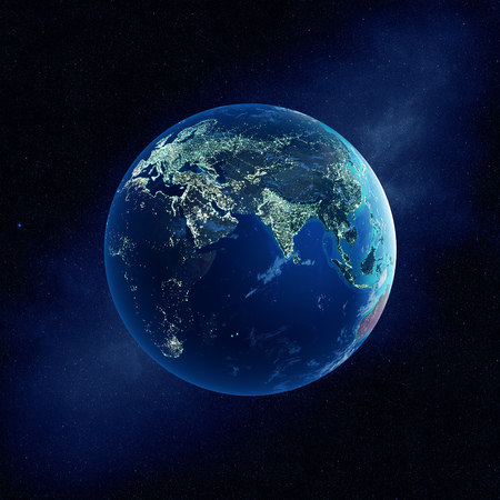 Earth with city lights at night in outer space with Europe and Asia  (Elements of this  3D rendered image furnished by NASA-   http://visibleearth.nasa.gov)