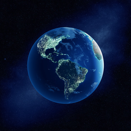 Earth with city lights at night in outer space with North and South America  (Elements of this  3D rendered image furnished by NASA-   http://visibleearth.nasa.gov)