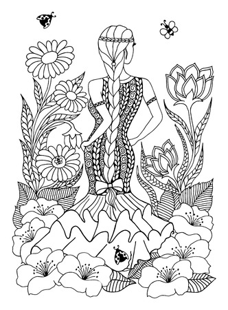 spanish woman: illustration Spanish woman girl standing in in the flowers. Doodle drawing. Meditative exercises. Coloring book anti stress for adults. Black white.