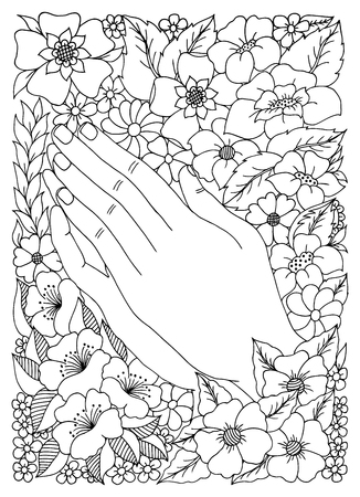 arm bouquet: illustration with the image of hands flowers.