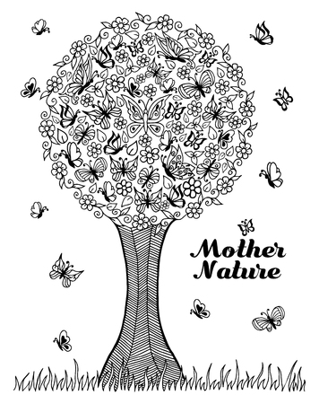 settled: illustration the tree on which the butterflies have settled. Doodle drawing. Meditative exercises. Coloring book anti stress for adults and children. Black white.