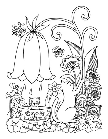trough: illustration a cat bathes the a kitten on nature. Doodle drawing. Meditative exercises. Coloring book anti stress for adults. Black white.