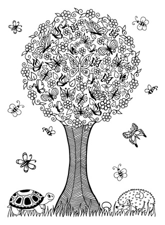 tree: illustration turtle and the hedgehog under a tree of butterflies. Doodle drawing. Meditative exercises. Coloring book anti stress for adults and children. Black and white.