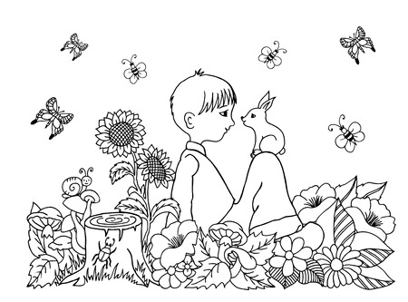 Easter Bunny Coloring Page Illustration Boy In The Flowers On His Lap Rabbit Doodle