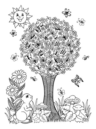 illustration on a flowering tree and butterflies have settled rabbit watches them. The work Made in manually. Book Coloring anti-stress for adults and children. Black and white.